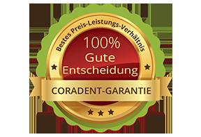 Coradent, 100% gute Entscheidung, zahnärztliche Garantie. Bestes Preis-Leistungs-Verhältnis.